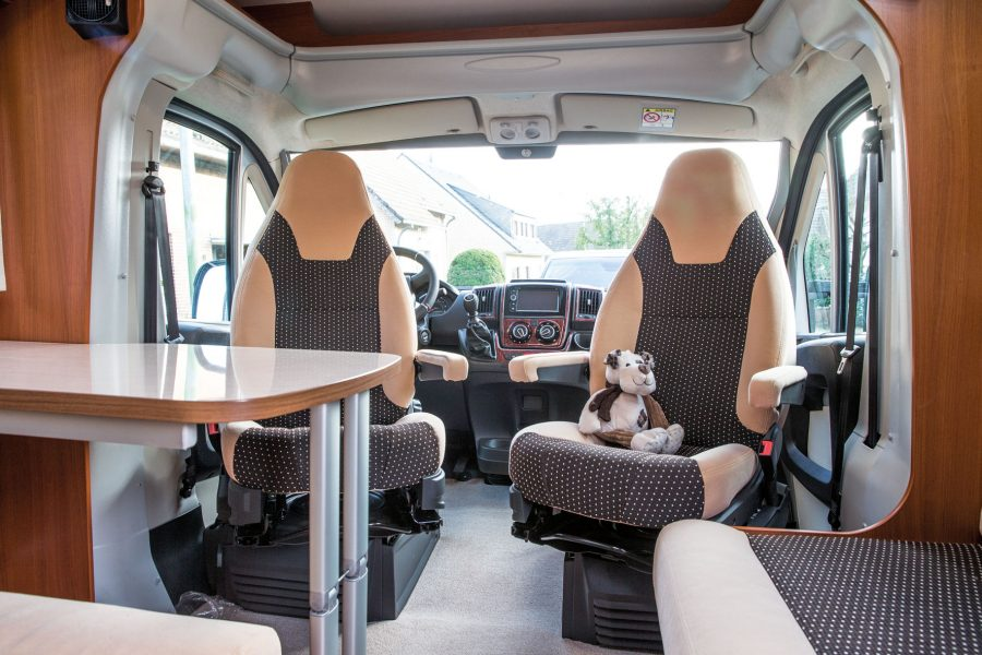Swiveling driver and front passenger seat and the table is extendable.