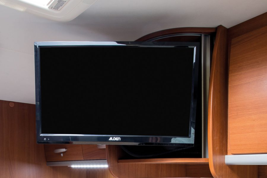 """Fully automatic satellite system incl. 22 """"TFT flat screen and integrated DVD player."""